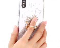 Luxusný-Silikónový-kryt-s-macíkom-a-kryštálikmi-pre-všetky-typy-iPhonov.. Mobiles, Apple Iphone, Rings, Mobile Phones, Ring, Jewelry Rings
