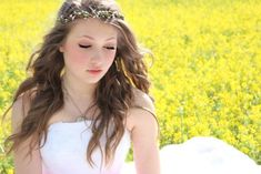 Long Wedding Hairstyles with woodland vine crown