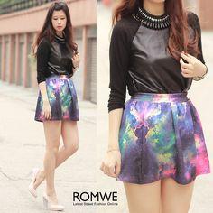 Faux Leather Black T-shirt & galaxy skirt