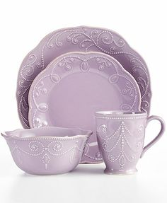 Lenox Dinnerware, French Perle Violet 4 Piece Place Setting