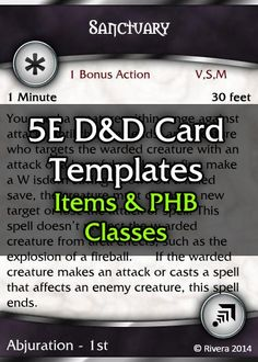 Tintagel's 5E D&D Card Template (CORE) - Creative Gremlins   DriveThruRPG.com