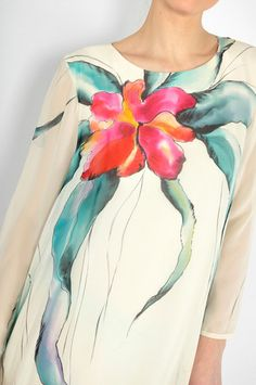 Vintage Hand Painted Silk Floral Mini Dress