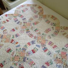 Antique double wedding ring quilt vintage by MilkweedVintageHome
