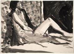 Richard Diebenkorn, Untitled ( Nude Female on Bed), 1962, black ink and wash on paper