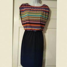 Enfocus studio jersey knit blouson dress jersey knit sheath dress with multi colored striped blouson top over sleeveless black dress Enfocus Studio  Dresses