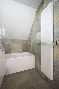 modern bathroom - stone and white furniture,