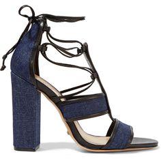 Schutz Maxine lace-up denim sandals (£118) ❤ liked on Polyvore featuring shoes, sandals, dark denim, high heeled footwear, lace up high heel sandals, laced sandals, schutz shoes and denim shoes
