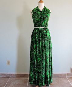 Vintage 70s Dress  Acid Green and Black Amoeba by BadChollaVintage, $42.00