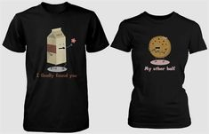 Men Women Fashion tees Cute Matching Couple Shirts - Milk and Chocolate Chip Cookie Custom camisetas Shirts Lover's Matching tee Cute Couple Shirts, Matching Couple Shirts, Matching Couples, Matching Clothes, Couples Assortis, Funny Couples, Bacon Funny, Culottes, Couple Outfits