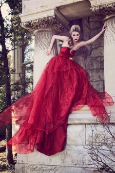 ♥ Romance of the Maiden ♥ couture gowns worthy of a fairytale - red