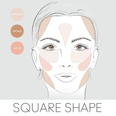 How to Contour Square Face Shape   Here's how to apply your highlighter, bronzer & blush if you have a ...