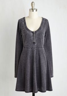 On a Grinning Streak Dress in Charcoal. Theres so much to cheer about when youre clad in this casual knit dress! #grey #modcloth