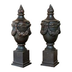 Pair of Large Continental Metal Urns