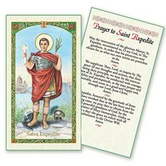 Prayer to Saint Expedite Holy Card Blessed By His Holiness Pope Francis Patron Saint of Patron of Emergencies Solutions Against Procrastination Merchants Navigators Programmers Hackers Revolutionaries