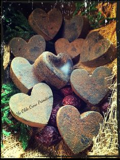 Sweet little wax Valentine heart ornies by: Ye Olde Crow Primitives