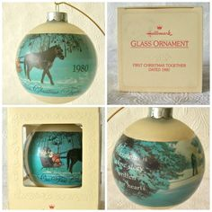 1980 Hallmark Glass Ornament. A beautiful glass ornament to mark your first year together at Christmas. The other side of the ball shows a couple in a sleigh and reads: Our First Christmas Together 1980.   eBay!