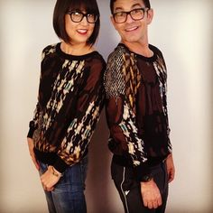 "Danny Flynn and I both love our tweed camo print ""Hazel"" sweatshirts! #NYFW"