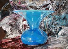 MI illumino - oil on linen - 50x70cm #cartastagnola #vasoblu #iperrealismo #oliosulino