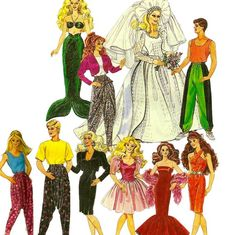 Items similar to Barbie Doll Ken Doll Clothes Pattern McCalls 5738 Mermaid Harem Pants Wedding Dress Evening Gown Sewing Pattern 11 Inch Doll on Etsy Diy Barbie Clothes, Sewing Doll Clothes, Sewing Dolls, Doll Clothes Patterns, Clothing Patterns, Doll Patterns, Barbie Et Ken, Ken Doll, Barbie Doll