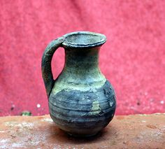 Authentic and very rare small jug, Andenne, Belgium, medieval 12th century