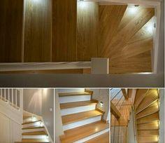 Eleganckie podświetlane schody w nowoczesnym, przestronnym domu. Takie rozwiązanie jest bardzo użyteczne w nocy, gdyż domownik może bezpiecznie się po nich poruszać bez konieczność włączania oświetlenia głównego;). #schodymika #schodydrewniane #schody #stairs #meble #meblenawymiar