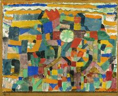 Paul Klee - Freundlicher Ort (Friendly Place), 1919. Gouache and watercolor on chalk primed paper laid down on the artist's mount.