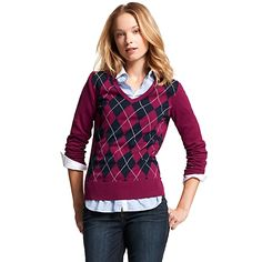ARGYLE V-NECK SWEATER from Tommy Hilfiger USA in morie purple/masters navy, $69 (100% cotton)