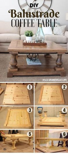 This rustic yet industrial DIY balustrade coffee ta… DIY Balustrade Coffee Table. This rustic yet industrial DIY balustrade coffee table is a great project for even beginners. Great addition to your living room! Building Furniture, Diy Furniture Plans, Furniture Makeover, Pallet Furniture, Deco Furniture, Industrial Furniture, Modern Furniture, Furniture Cleaning, Business Furniture