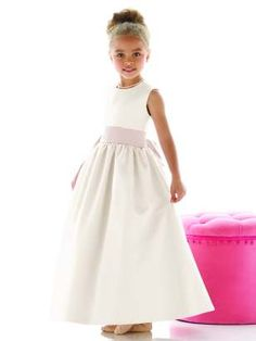 Dessy Flower Girl Dress FL4021, ivory with choice of coloured sash