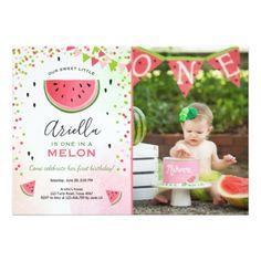 One in a melon Birthday Invitation Watermelon - invitations custom unique diy personalize occasions