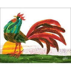 Oopsy Daisy Rooster by Eric Carle Canvas Art Pete The Cats, Animal Art Projects, Collage Drawing, Chickens And Roosters, Galo, Art Lessons Elementary, Eric Carle, Art Lesson Plans, Art Wall Kids