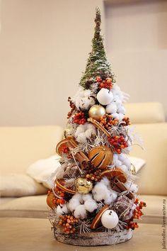 Купить Апельсиновая елочка - оранжевый, белый, настольная елка, оригинальные подарок, украшение дома