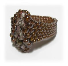 seed bead jewelry   seed bead ring  crystal ring  Japanese by rill, ₪90.00