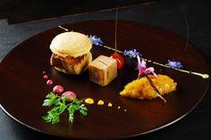 foie gras /mangue/ macaron au citron de menton