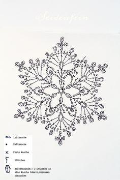 Crochet script for snowflakes Crochet Snowflake Pattern, Crochet Stars, Crochet Motifs, Crochet Snowflakes, Crochet Diagram, Tunisian Crochet, Crochet Doilies, Crochet Stitches, Knit Crochet