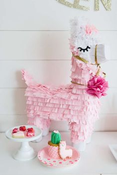 Check out the cute pin llama pinata at this Valentine's Day Party!! See more party ideas and share yours at CatchMyParty.com #catchmyparty #pinata #decorations #valentinesday
