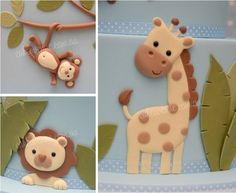 jungle animals! (figuras planas de fondant)