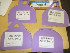 Lily's Purple Plastic Purse - turn into writing activity - answering comprehension questions (characters, setting, etc.)