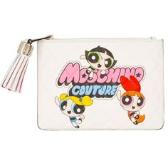 Moschino Quilted Nappa Clutch Powerpuff Girls White in white, Evening... (€255) ❤ liked on Polyvore featuring bags, handbags, clutches, white, hand bags, white evening bag, moschino handbags, tassel purse and evening bags