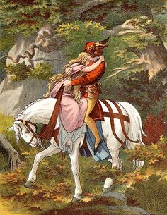 Romantic Couple on Horse--Vintage Fairy Tale Illustration - The Six Swans. Grimm.