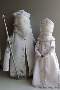 """Купить """"Дед Мороз и Снегурочка"""" Куклы-образы... - белый, Дед Мороз и Снегурочка, новогодний подарок"""