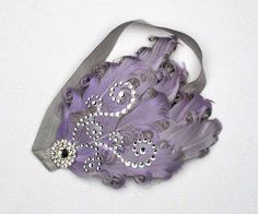 Lavender gray headband made feather for  Photo prop flower newborn baby girl wedding. $16.99, via Etsy.