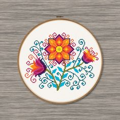 Colorful Flowers PDF Cross Stitch Pattern