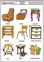 Okul öncesi Mobilya eğitici kartları Learning Arabic, Kids Learning, Preschool Furniture, Learn Turkish, Turkish Language, Cute Comics, Primary School, Special Education, Cards