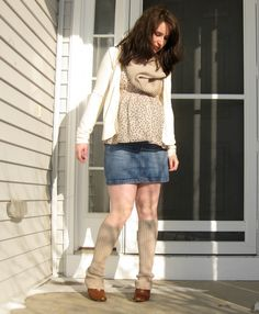 cowl neck and leg warmers from old sweater
