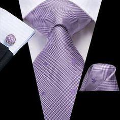 Little Floral Plaid Men's Necktie Pocket Square Cufflinks Set – ties2you