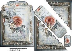 peach rose bookmark card on Craftsuprint designed by Cynthia Berridge - peach rose bookmark card - Now available for download!