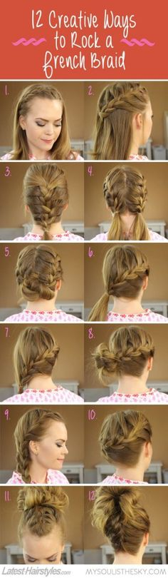 12 ways - french braid Hair Tutorial, how to french braid