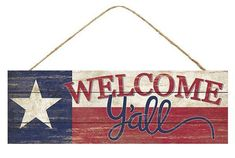 "15""x 5"" welcome y'all Texas star sign, Texas star wreath sign, Texas star sign, red white blue welcome y'all Texas star sign"