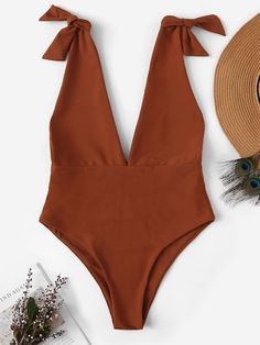 Shop Deep-V Self Tie One Piece Swimwear online. SheIn offers Deep-V Self Tie One Piece Swimwear & more to fit your fashionable needs. Fashion News, Fashion Outfits, Fashion Trends, Fashion Fashion, Vintage Fashion, Cute Bathing Suits, Bra Types, Beachwear For Women, Swimsuits
